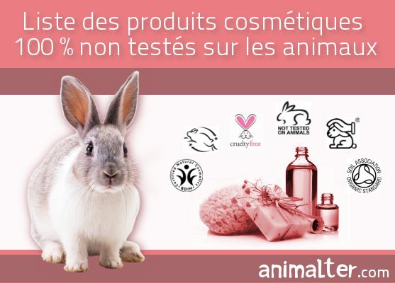 Nouvelle liste des produits cosmétiques 100% non testés sur animaux :