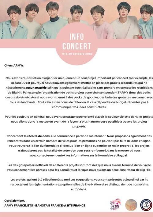 Information pour le concert du 19 et 20 octobre 2018