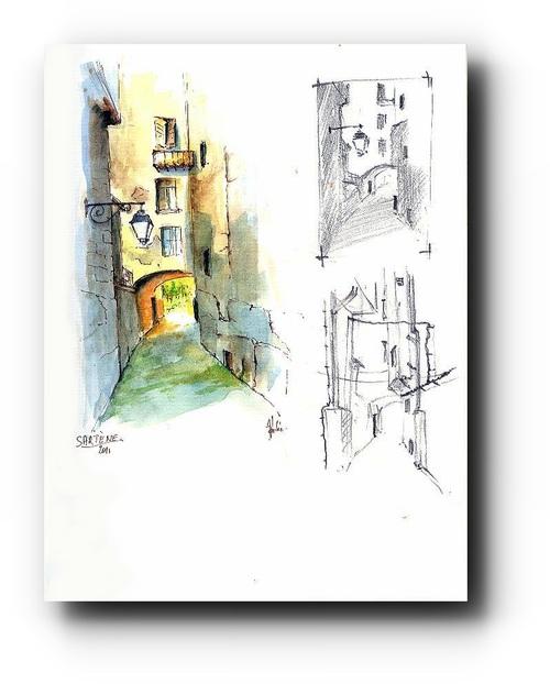 Sartène, aquarelle et croquis