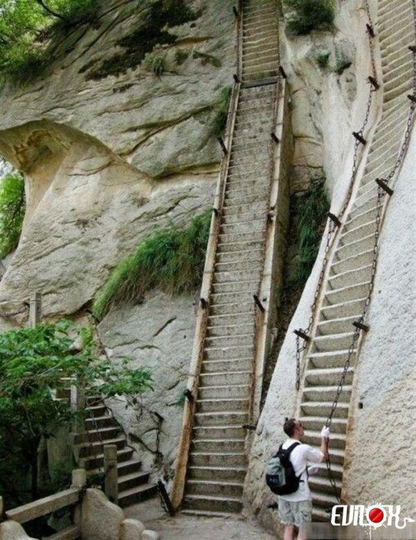 montagne, escalade, pente, escalier