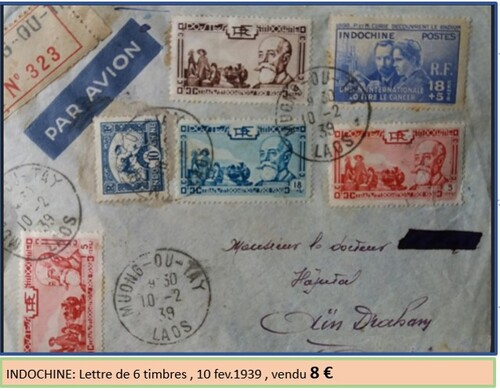Lettre indochine 6 timbres 1939