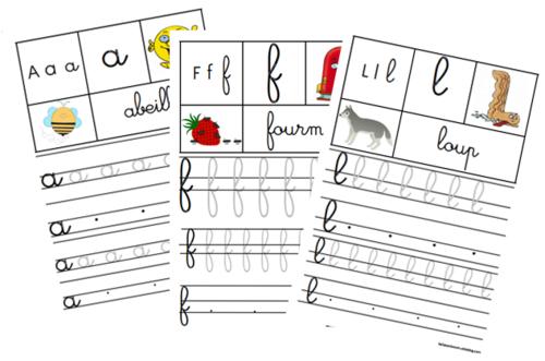 fichier d'écriture cursive maternelle