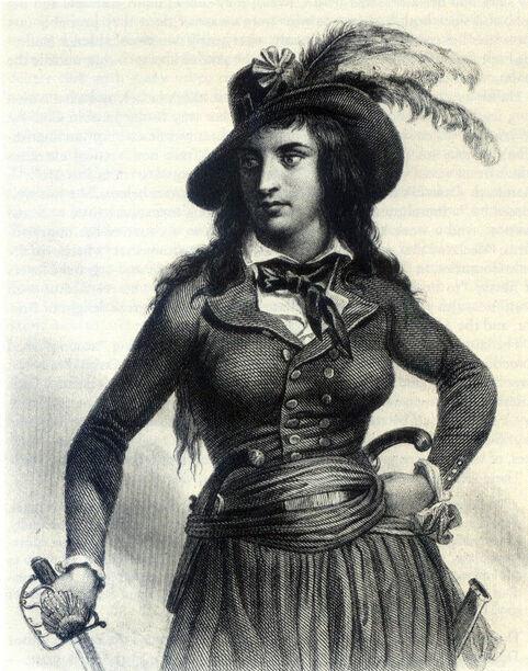"""Théroigne de Méricourt en """"amazone écarlate de l'Histoire"""". Gravure d'après une peinture, Auguste Raffet"""