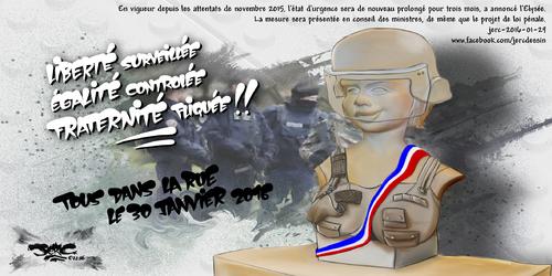 JERC 2016-01-29, L'état d'urgence permanent ? Quelle est la prochaine étape pour restreindre encore + nos libertés! www.facebook.com/jercdessin Cliquer sur la photo pour voir en plus grand.