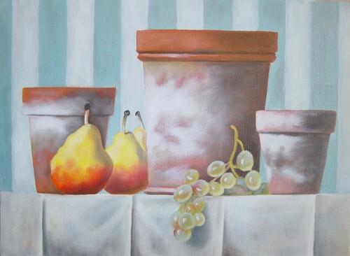 huile : pots et raisin