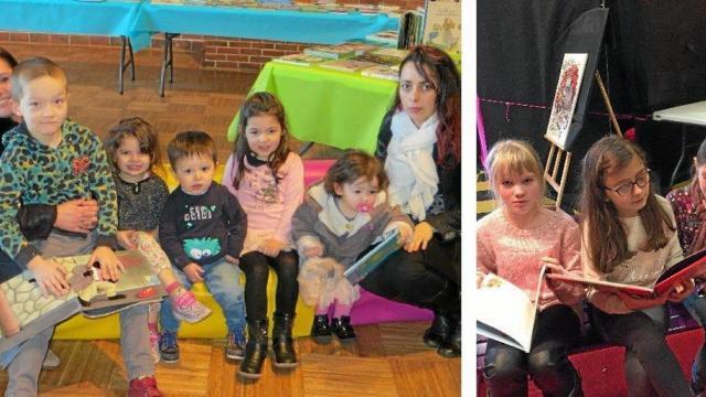 Moment de détente et de partage avec les mamans qui font la lecture aux enfants. Les élèves de l'école Saint-Jean ont passé le vendredi après-midi  au salon du livre de jeunesse.
