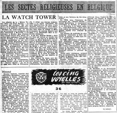 Les sectes religieuses en Belgique (La Lanterne, 5 mai 1950)(Belgicapress)
