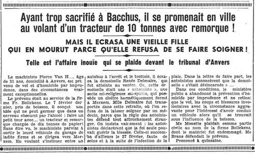 Antoiniste décédée de Merxem (Schoten)(Journal de Charleroi, 13 octobre 1937)(Belgicapress)