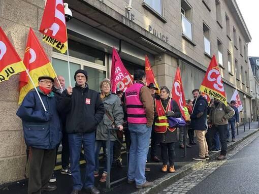 Quimper. La CGT manifeste devant le commissariat (OF.fr-12/02/20-11h09)
