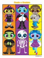 Impressions d'halloween: Masques, étiquettes, cubes..