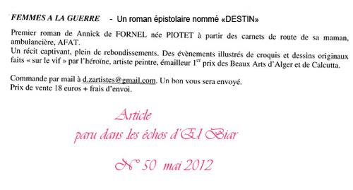 """PRESSE - ROMAN EPISTOLAIRE """"FEMME A LA GUERRE"""" le destin"""