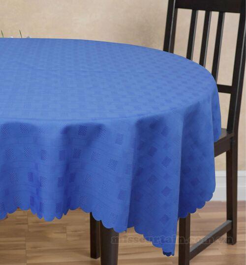 khăn trải bàn tròn màu xanh dương dulem
