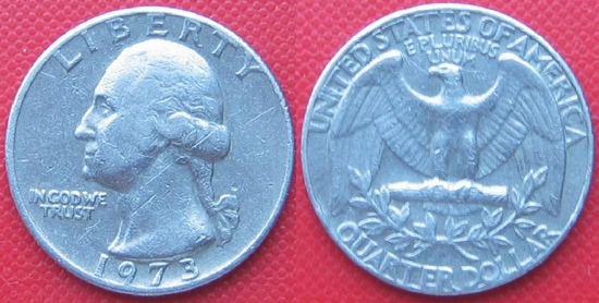 quarter dollar usa 1973