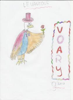 """Coloriages et dessins : le vautour des """"Animots Rigolos - les Sons Voyelles"""""""