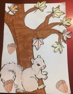 L'écureuil d'automne et son gland
