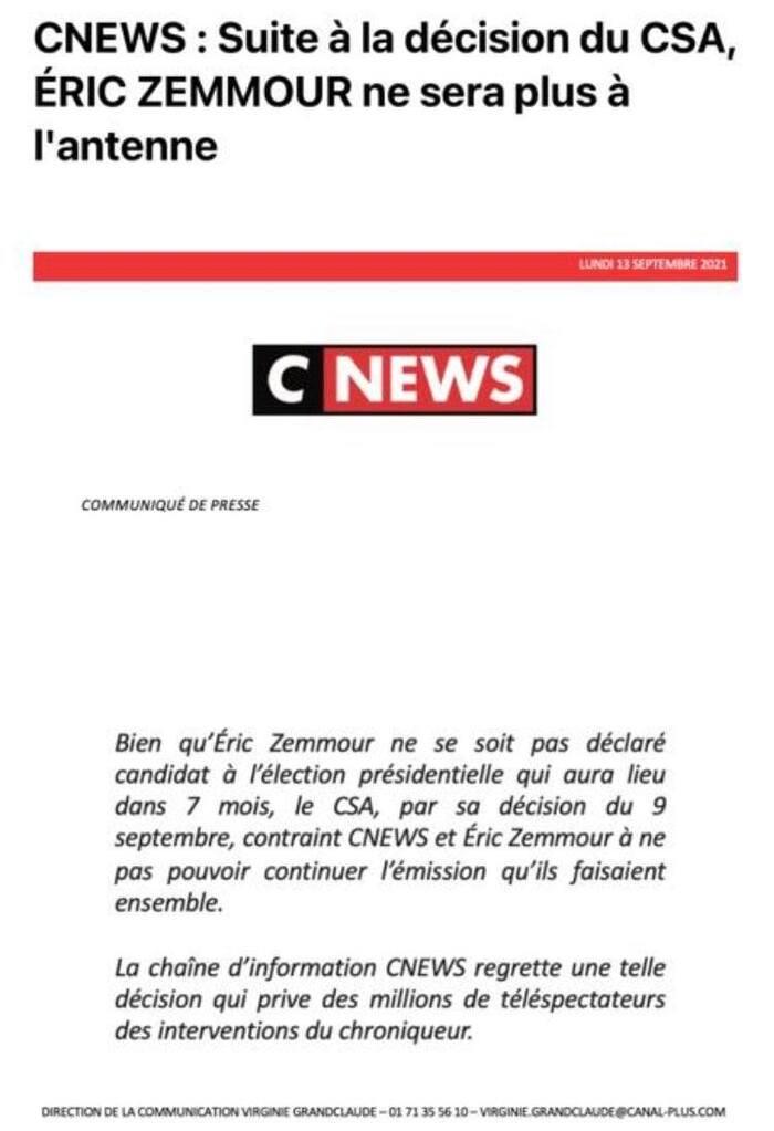 Zemmour honte de la France