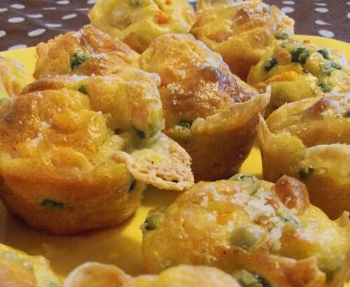 Muffins petits pois-carotte-Maroilles