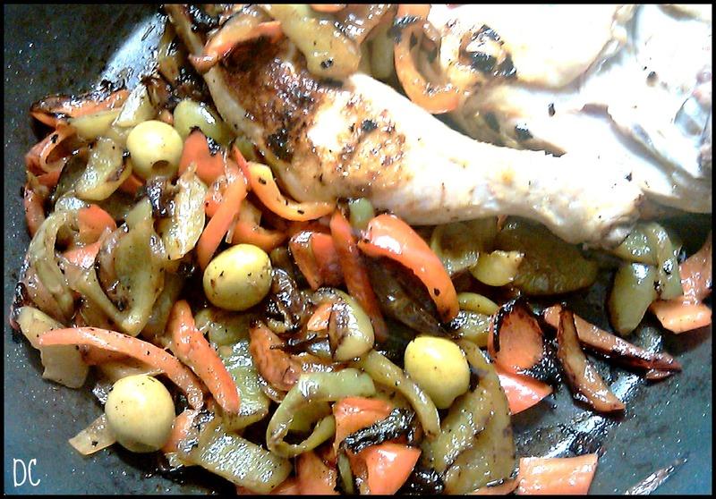 Poulet aux poivrons, huile d'olive et olives Tramier