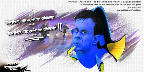 dessin de JERC mardi 17 janvier 2017 caricature Manuel Valls Apres les requins de la finance, voici la gauche caviar. Il doit y avoir anguille sous roche  www.facebook.com/jercdessin
