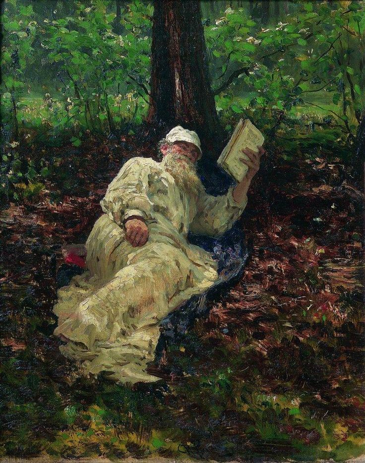 Leo Tolstoy in the forest - Ilya Repin
