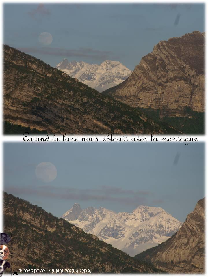 Quand la lune nous éblouit avec la montagne