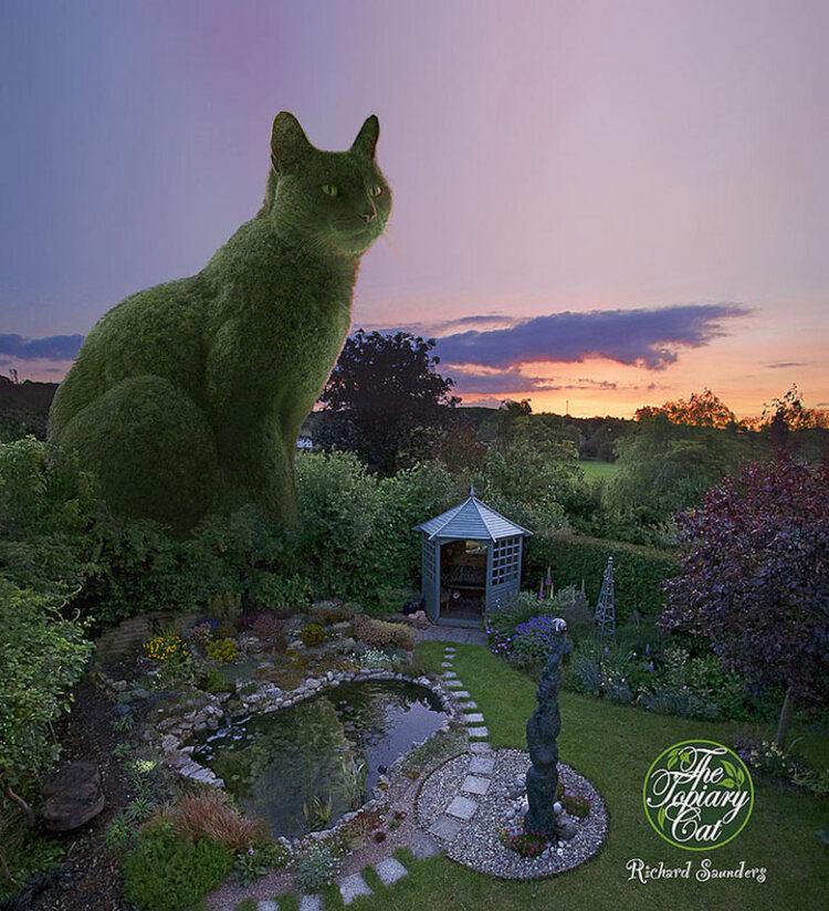 un PPS reçu de mon amie nays que je trouve magnifique,ce sont des chats sculpter avec des arbustes
