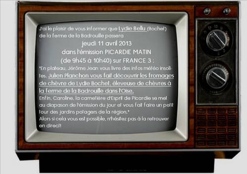 Lydie Bellu à la télé jeudi 11 avril