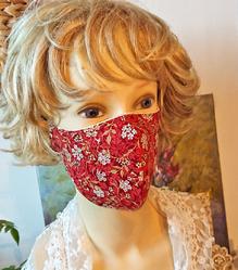 Masques tissu coton femme, teintes rouges, vertes, marron