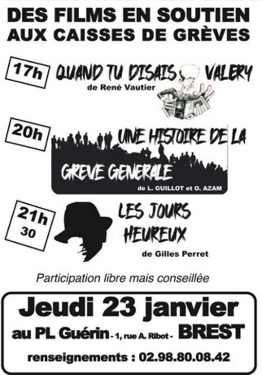 Brest-Projection de films en soutien aux caisses de grève