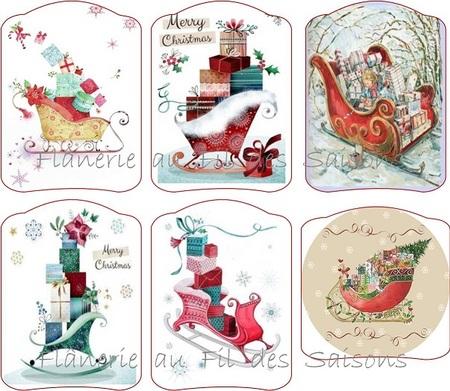 Préparons Noël !  cartonnettes le traineau du Père-Noël