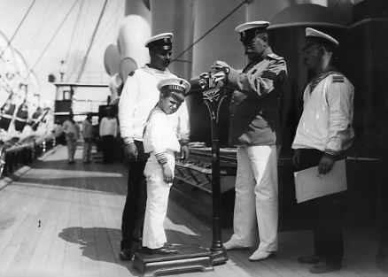 "The captain of the yacht ""Standart"" I.I.Chagin weighing Tsarevich Alexei, 1910."
