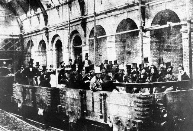 Opening of the London underground metropolitan line in London, Britain, 1863. (Photo by Rex Features/Shutterstock)