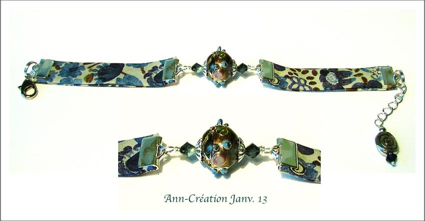 Bracelet Tissu Liberty authentique Bleu N°3 / Verre Lampwork / Métal doré