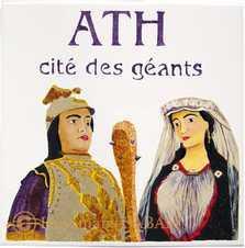Carreau en faïence personnalisé évoquant le patrimoine folklorique de Ath: les géants Monsieur et Madame Goliath - Arts et sculpture: peintre, artisan d'art