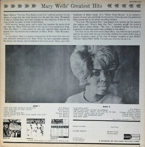 "Mary Wells : Album "" Greatest Hits "" Motown Records M 616 [ US ]"