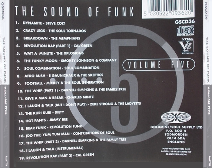 "Various Artists : CD "" The Sound Of Funk 5 "" Goldmine Soul Supply Records GSCD 36 [ UK ]"