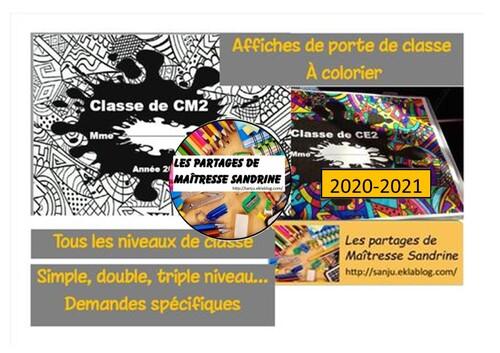 Affiches porte de classe à colorier 2020-2021