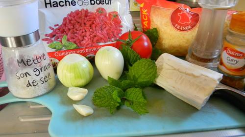 Samoussas de bœuf haché aux curry, menthe, tomate, chèvre ou gruillère (facile et rapide)