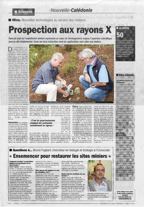 Octobre 2011 Les Nouvelles Calédoniennes rubrique Sciences