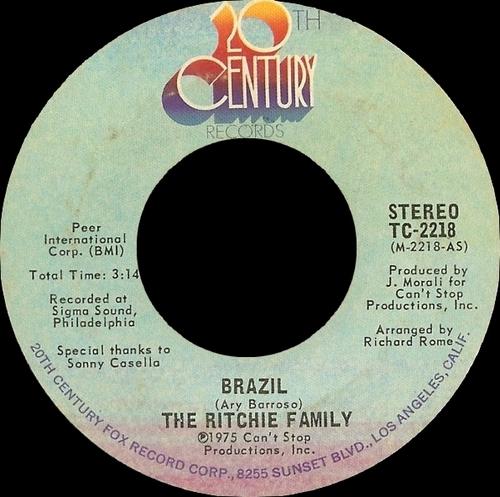 "The Ritchie Family : Album "" Brazil "" 20Th Century Records T-498 [ US ]"