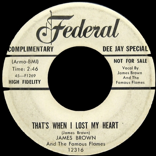 1958 James Brown & The Famous Flames Federal Records 45-12316 [ US ]