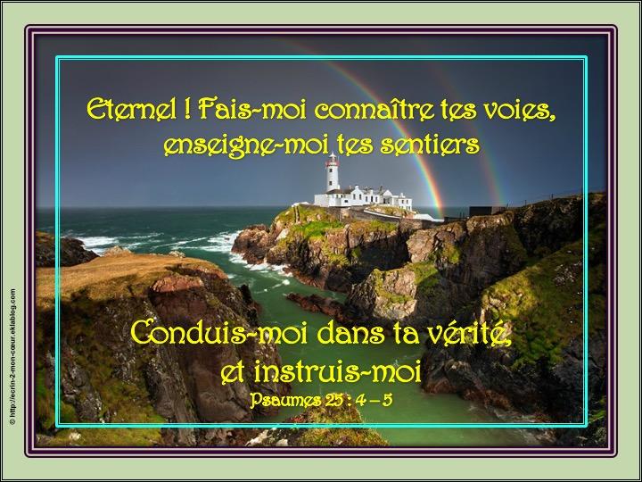 L'Eternel, le chemin - Psaumes 25 : 4 - 5