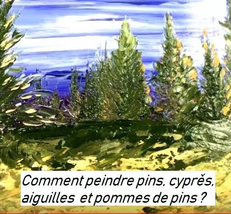 Dessin et peinture- vidéo 2909 : Comment peindre des pins ou cyprès au couteau ? - peinture acrylique.
