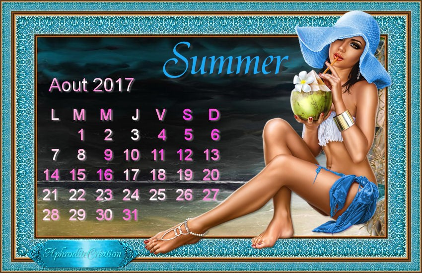 Calendrier Aout 2017