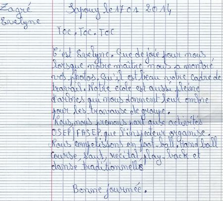 Photos et courriers de l'école publique de Naliassan pour l'école publique Le Petit Prince de Mornant