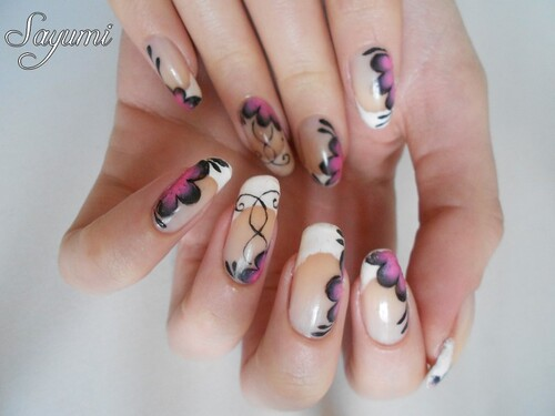 Nail Art One stroke inspiration japonaise