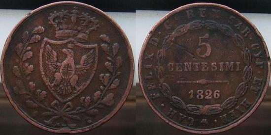 Cinq centesimi 1826