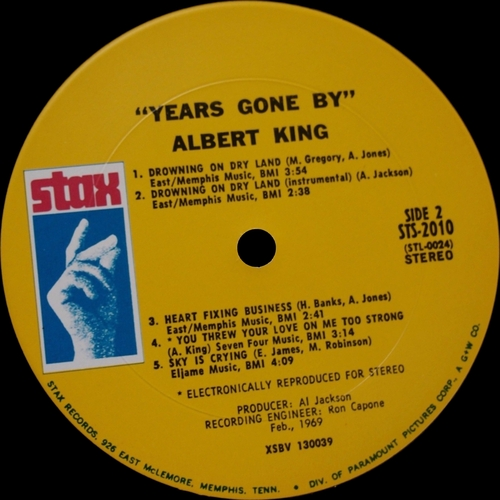 "Albert King ‎: Album "" Years Gone By "" Stax Records STS 2010 [ US ]"