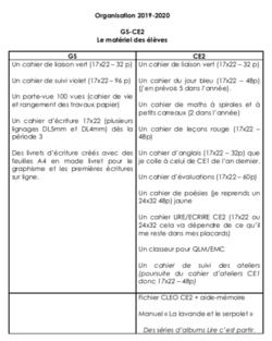 Organisation 2019-2020 en GS/CE2