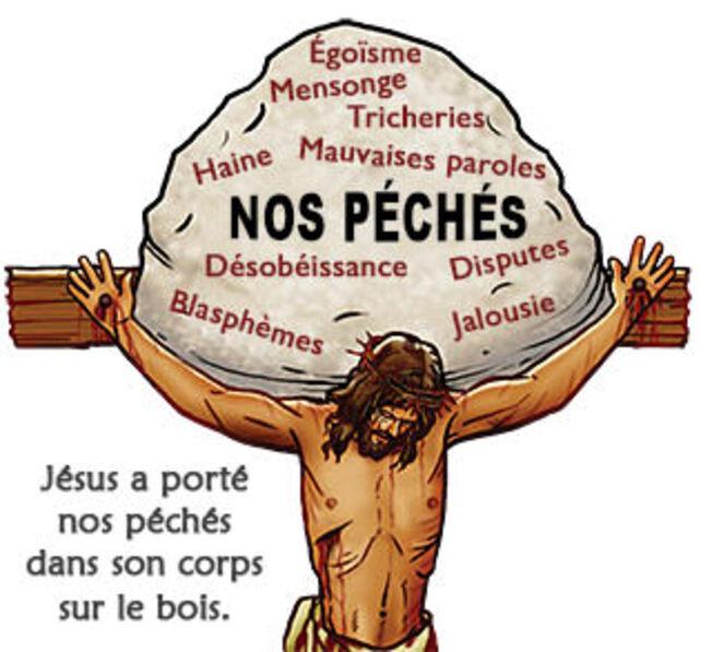 Jésus a porté nos péchés dans son corps sur le bois. (graphic droit d'auteur Stephen Bates)